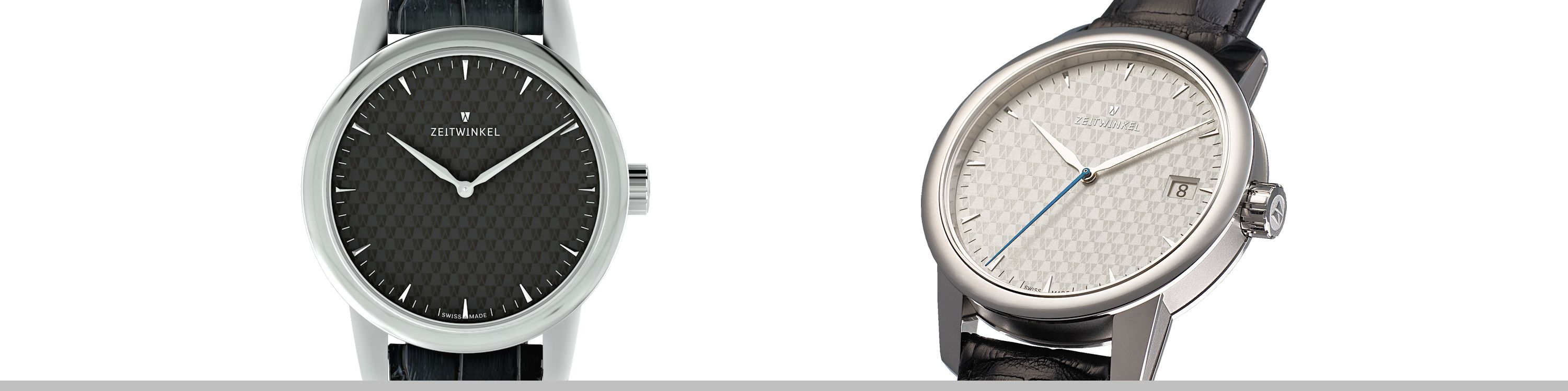 Handmade Swiss 42.5mm manufacture watches Zeitwinkel 312° and 032° with two or three hands and inhouse caliber ZW0102